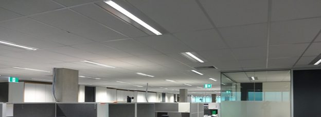 A office level that has suspended ceilings fitted on at a level of a building