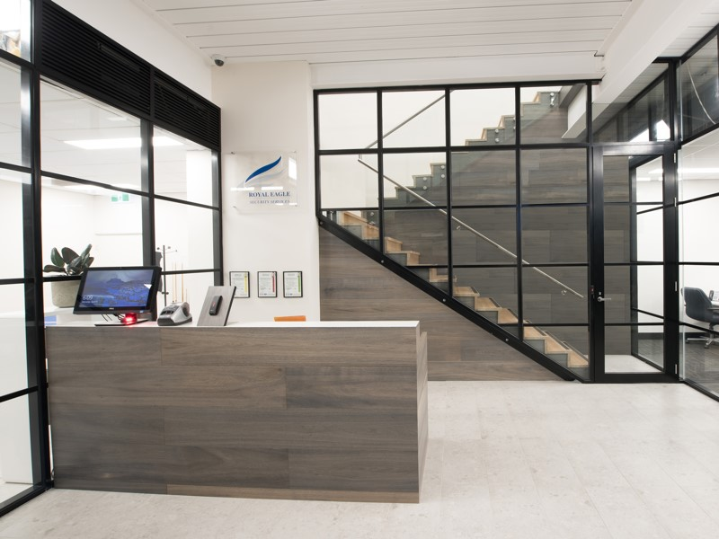 reception desk and glass partitions victoria