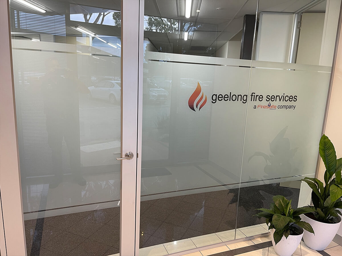 obscure office glass film with company logo